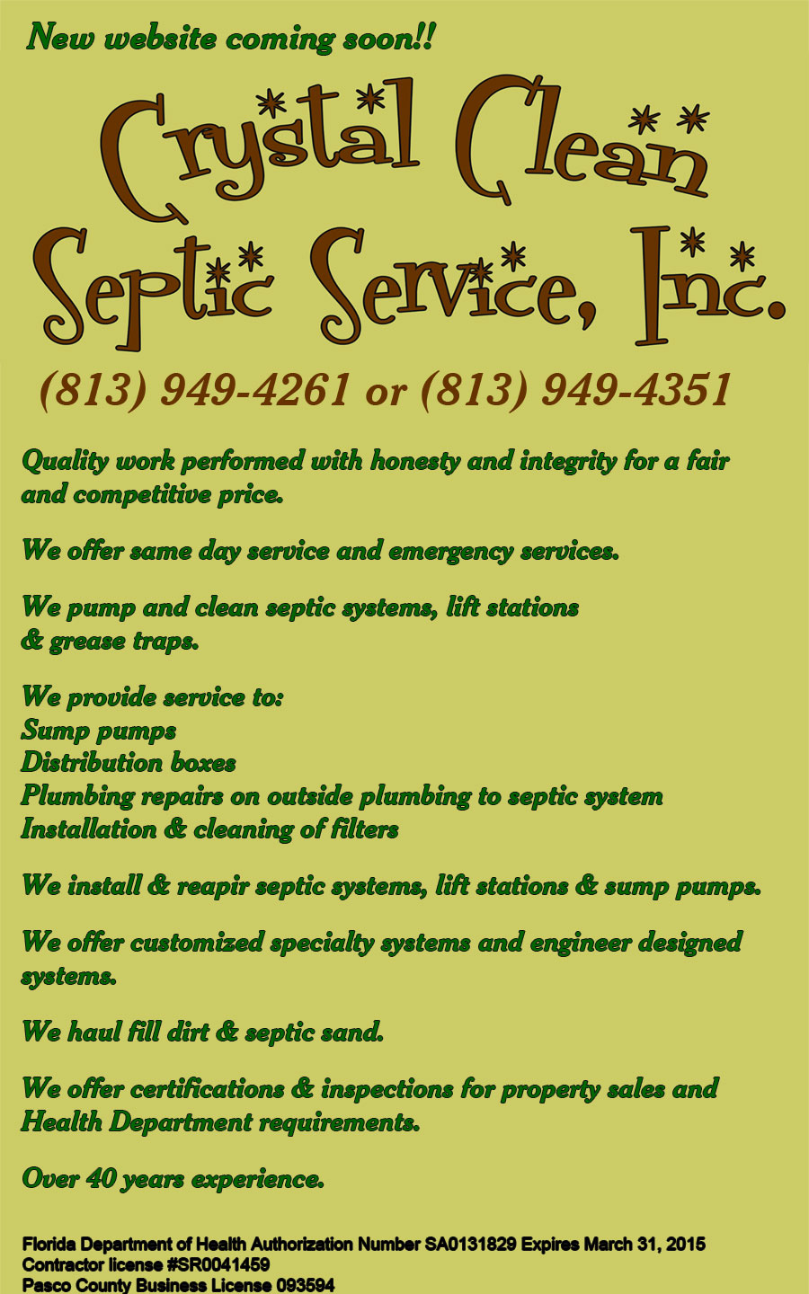Crystal Clean Septic Service, Inc